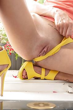 Sexy Adelle Unicorn in a Yellow Thong - Wow Porn Nude Gallery