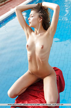 Glamour Model Monika Dee by the Pool - Met Art Nude Gallery