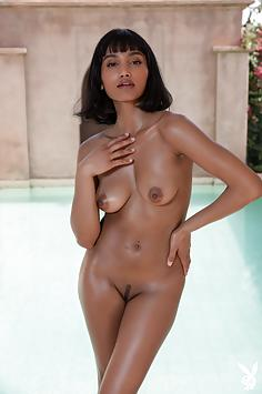 Ebony Beauty Angel Constance by the Pool - Playboy Plus Nude Gallery